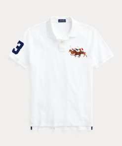 Polo pony triplo Custom Slim-Fit bianca