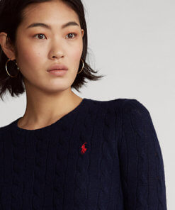 maglia lana trecce blu