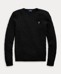 maglia lana trecce nera