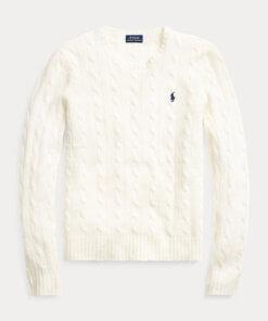 maglia lana trecce panna