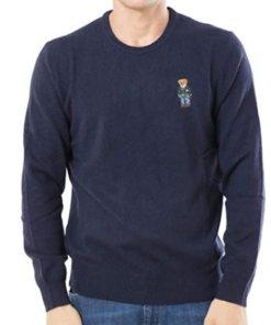 maglione polo blu bear