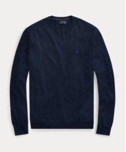 maglione polo blu lana merino